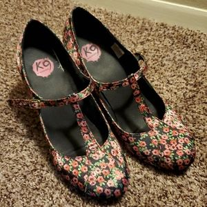 Floral T-strap wedge